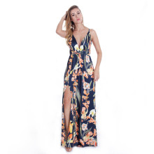 V Neck Backless Flower Printed Long Maxi Dress Navy TOM1050