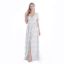 V Neck Wave Pointing Long Maxi Dresses White TOM1049