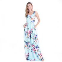 Backless Cyan Dress Women Flora Printed Long Maxi Dresses