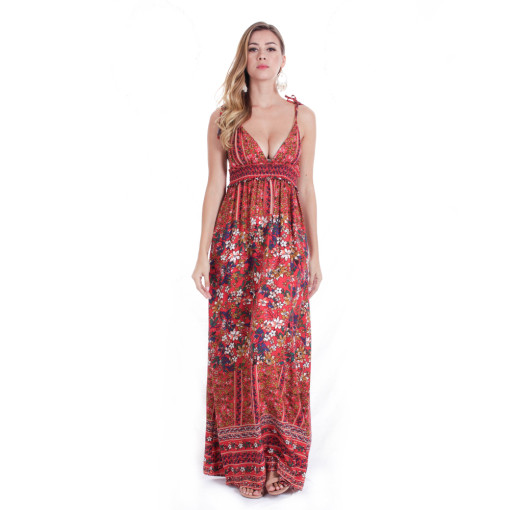 Boho Print Sexy Dresses Women Summer Maxi Beach Party Sleeveless Long African printing Backless Dress
