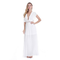 Tomslover V Neck White Long Maxi Dresses