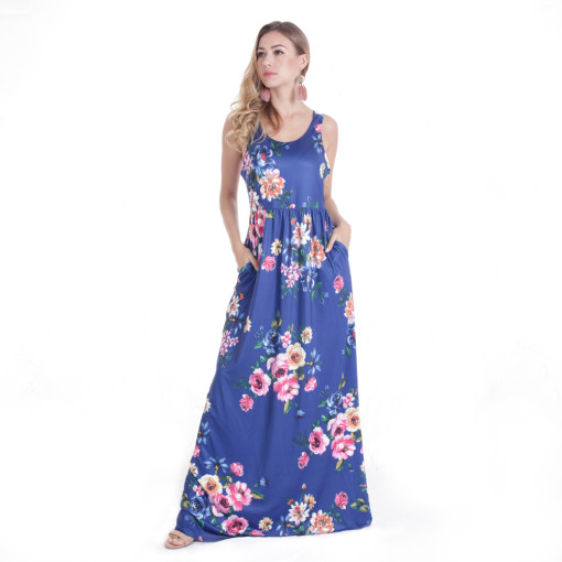 Backless  Blue Dress Women Flora Printed Long Maxi Dresses