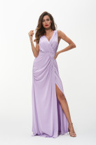 Evening Dresses Long Women Elegant Purple V neck Sleeveless Empire Dresses 2018 Summer Dress Vestido De Festa Longo