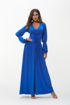 2018 Long Sleeve Drawstring V Neck Maxi Dresses Women Casual Party Elegant Floor-Length Blue Ukraine Dress