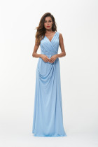 Evening Dresses Long Women Elegant Light Blue V neck Sleeveless Empire Dresses 2018 Summer Dress Vestido De Festa Longo