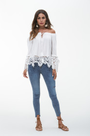 Off Shoulder Patchwork Lace White Blouse Shirt Retro Long Sleeve Chiffon Blusas Sexy Summer Tops Women Blouses 2018