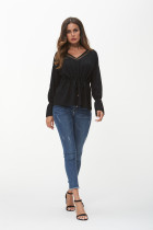 Plus Size 2018 Women's Lace Up Waist Tops Sexy V Neck Long Sleeve Tops Female Elegant Black Tee Shirt Women Clothing