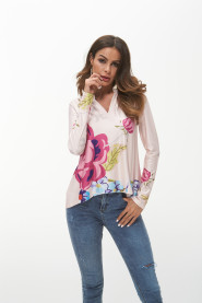 Floral Print T-shirts Women T Shirts Long Sleeve Pink Female Tops 2018 Spring Elegant Ladies T-shirt Plus Size 3XL