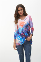 Sky Print Women Long Sleeve Spring T-Shirts Casual O Neck T Shirt Female Tee Ladies Cotton Tees Tops 3XL Plus Size