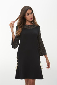 Brand Design Black Patchwork Dress Elegant Style Sequined Flare Sleeve Mini Party Dress Sexy See Though Dresses 3XL