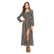 2018 Summer O-neck Long Shirt Dress Women Sexy Ladies Stripe Party Dress Slim Fit Long Sleeve Casual Dress