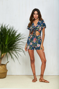 Floral Print Sexy Bow Tie Summer Playsuit Women 2018 Short Sleeve Beach Bodysuits Rompers Casual Boho Party Short Jumpsuit 18017