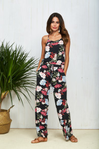 Wholesale Women Summer Beachwear Floral Strap Tops Bandage One Piece Jumpsuit With Long Pants TOM 18015