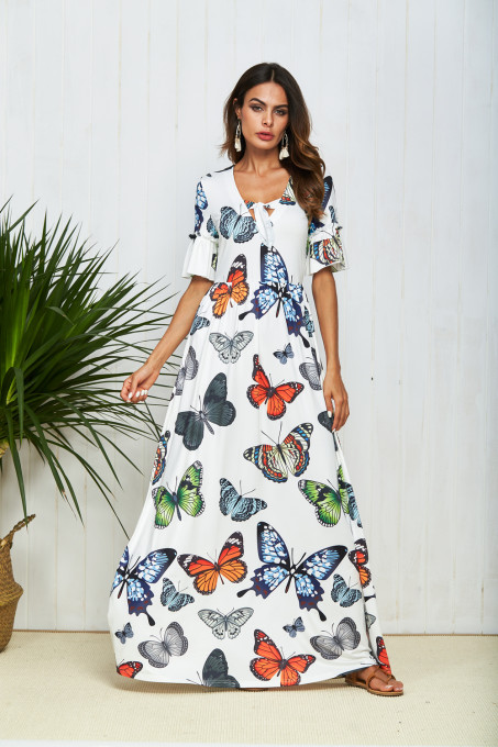 Butterfies Printed Long Maxi Dress White TOM1017