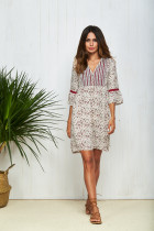 100%Polyester 3/4 Sleeve Lace Splicing Plus Size Loose Chiffon Floral Short Dresses