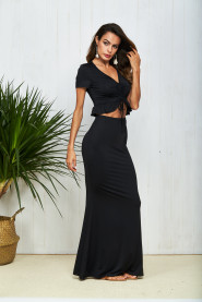 Black Sexy Ladies Party Dress 2 Set Short Sleeve TOM35004
