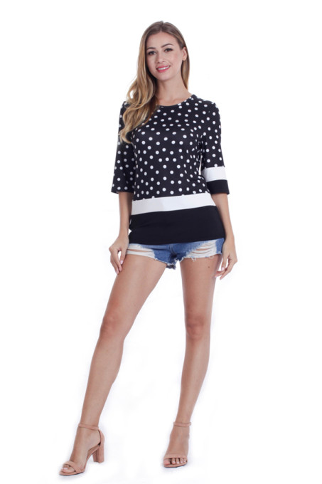 2018 wholesale summer ropa mujer half sleeve stylish latest polka dot blouse design shirts for women blouses