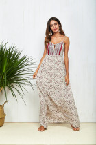 Trendy fashion clothes hot summer casual chiffon printed floral long spaghetti strap maxi dress 2018