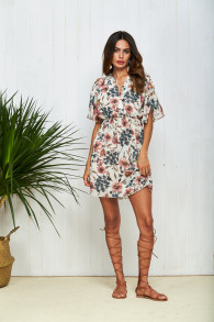 Floral Print V Neck Boho Mini Dress