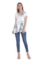 Wholesale Designer Chinese Ink And Wash Painting Printed T Shirts Casual Summer Women Blouses And Shirts 2018