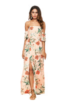 TOM1018 Apricot Off The Shoulder With Pattern Rose Print Dress Maxi Dresses Summer