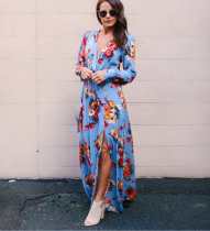 Maxi Bohemian Dress Women Spring Sexy Split Printed Dress Femme Long Sleeve V-Neck Long Dress Plus Size Vestidos Sundress