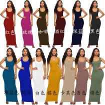 latest designs women casual long dresses sleeveless maxi dress sexy bodycon lady dress