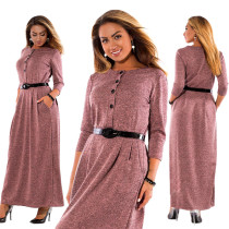 European and American style women long one piece dress elegance plus size long sleeve maxi dress