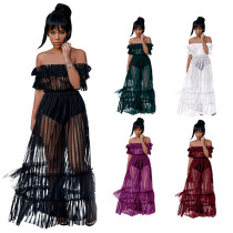 2018 Women Long Perspective Dress Off Shoulder Party Summer Beach Boho Holiday Dresses Fold Mesh Lingerie Gauze Dress Clubwear