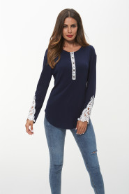 New 2019 Women Western Wear Embroidery Top Ladies Solid Color Long Sleeve Style Blouse Designs