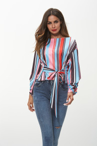 2018 New Arrival Women Colorful Striped Fashion Casual Top Printed Bow Long Sleeve Pullover Round Neck Top