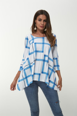 Blue Geometric Patterns Knitted Ladies Blouse Autumn