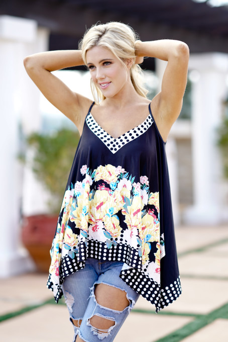 Black Floral Printed Tank Top
