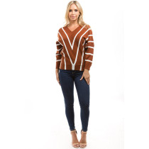 Autumn New Striped Sweaters Winter 2018 Women Long Sleeve Sweater Ladies Knitting Pullovers Loose Casual V Neck Tops