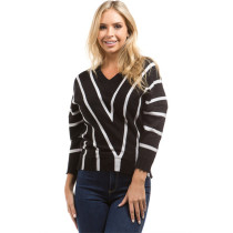 Drop Shoulder Striped Knitted Pullover Sweater Black
