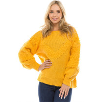 Long Puff Sleeve Knit Pullovers feminino Faux Woolen Knitted Sweaters Yellow