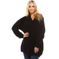 Autumn Winter Sweaters Pullovers Casual Tops Sweater Slim Knitted Jumpers Black
