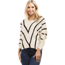 Drop Shoulder Striped Knitted Pullover Sweater White