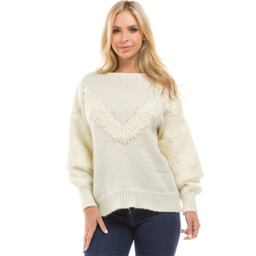 Long Puff Sleeve Knit Pullovers feminino Faux Woolen Knitted Sweaters White