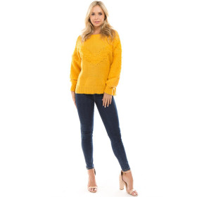 2018 Autumn Women Sweater Long Puff Sleeve Knit Pullovers feminino Yellow Casual Faux Woolen Knitted Sweaters Oversized mujer