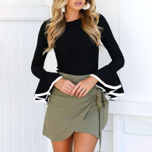 Women Thin Slim Knitwear Sexy Casual Soft Off Shoulder Round Collar long Flare Bell Sleeve Sweater