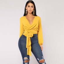 Women Sexy Crop Top Deep V Neck Tied Waist Wraparound Long Sleeve Blouse Shirt Casual Cropped Tops