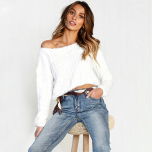 2018 Autumn Faux Fur Fluffy Sweaters Women Tops Long Sleeve Fashion Long Party Pullovers Female Jumpers Knitwear