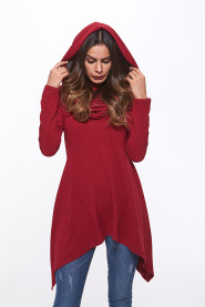 Novelty Fashion Women Autumn Long Sleeve Casual Asymmetrical Dress Loose Hooded Cowl Neck Mini Dress Wizard Rob