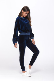 Fashion Velvet 2 Piece Set Women Casual Long Sleeve Loose Top and Pant Tie Up Lantern Sleeve Fall Winter Sets Outfit