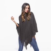 Hooded Cloak Knitted Tassel Pullovers Poncho Sweater Gray