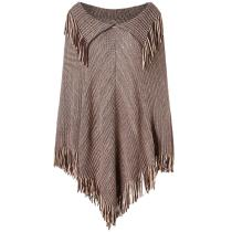 Casual Tassel Shawls Knitted Poncho Sweater Brown
