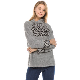 Leopard Patchwork Skew Button Up Fluffy Pullovers Tops Gray