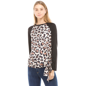 Casual Long Sleeve Leopard T Shirts Black