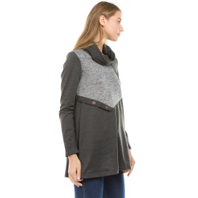 Long Sleeve Buttons Patchwork Cowl Neck Knitwear Tops